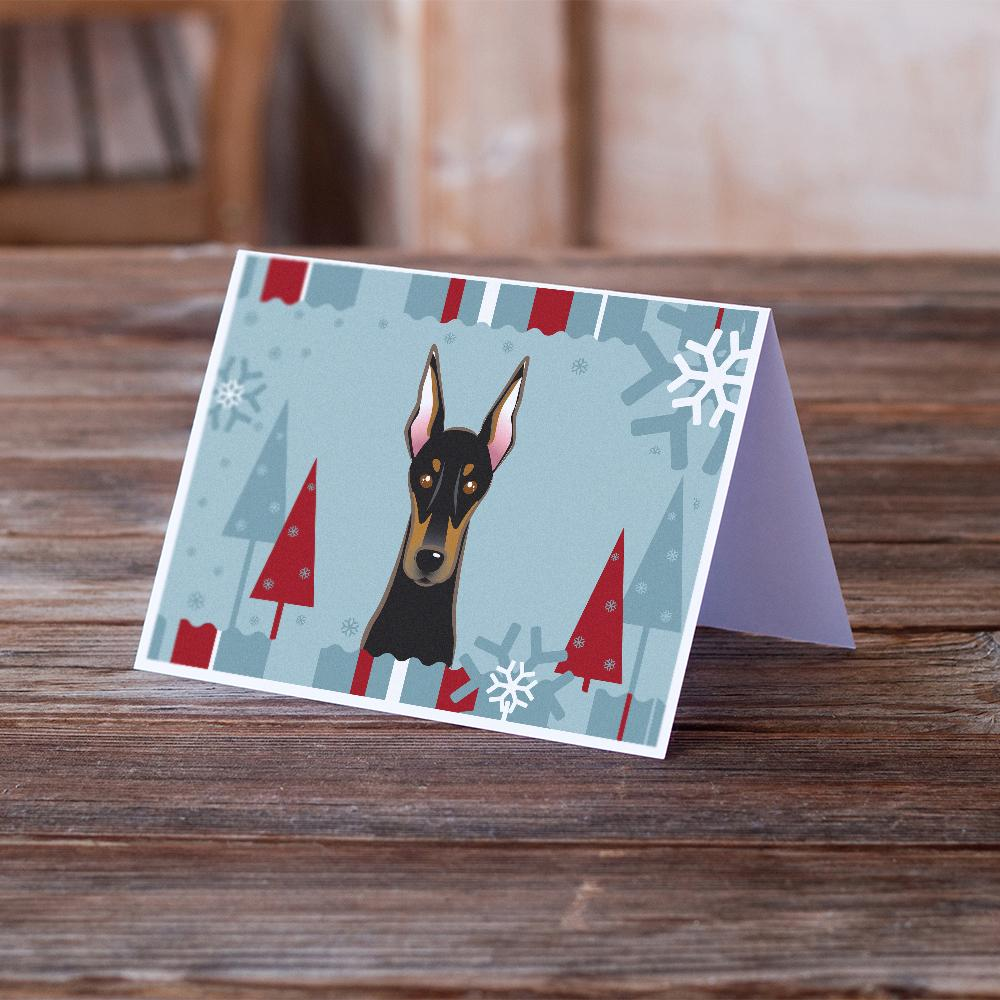 Buy this Winter Holiday Doberman Greeting Cards and Envelopes Pack of 8