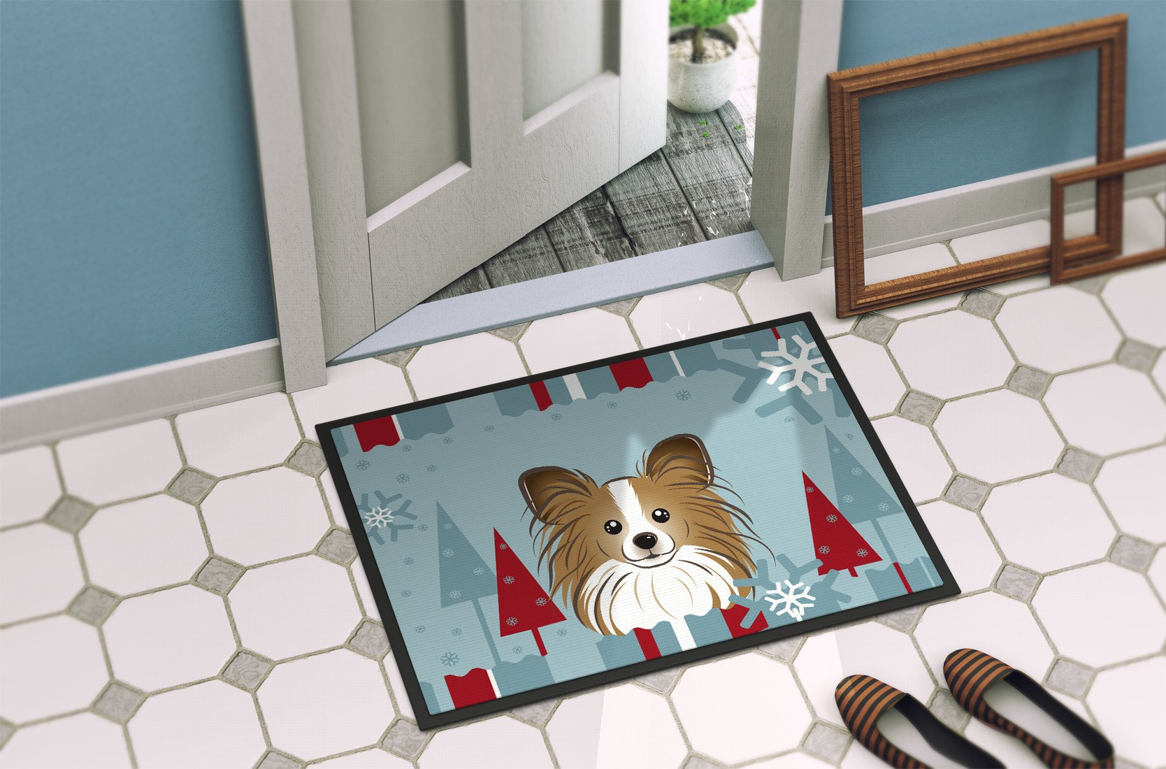 Winter Holiday Papillon Indoor or Outdoor Mat 18x27 BB1744MAT - the-store.com
