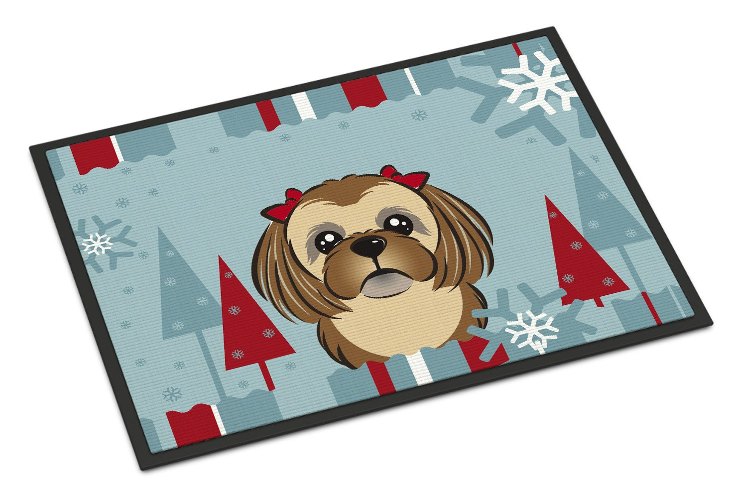 Winter Holiday Chocolate Brown Shih Tzu Indoor or Outdoor Mat 18x27 BB1745MAT - the-store.com