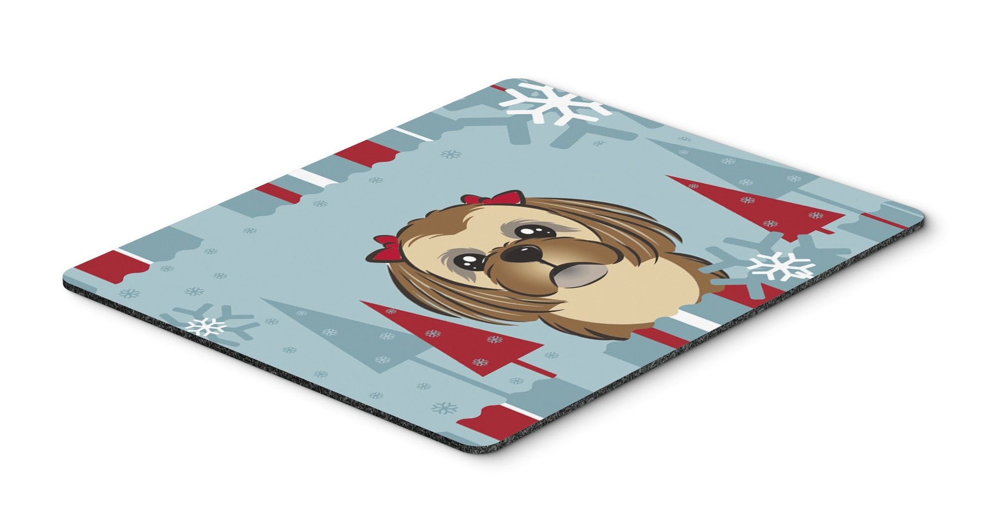 Buy this Winter Holiday Chocolate Brown Shih Tzu Mouse Pad, Hot Pad or Trivet BB1745MP
