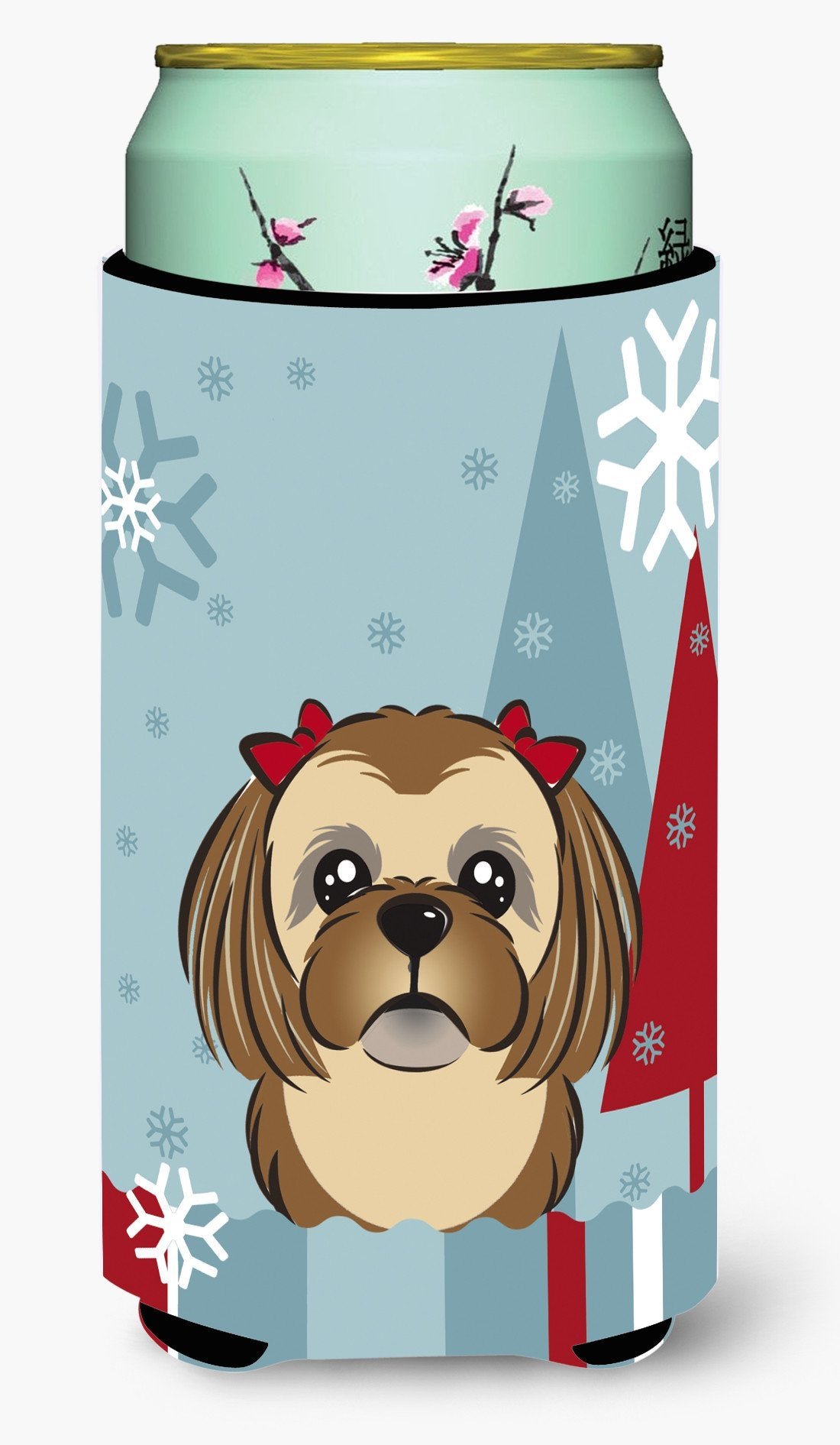 Buy this Winter Holiday Chocolate Brown Shih Tzu Tall Boy Beverage Insulator Hugger BB1745TBC