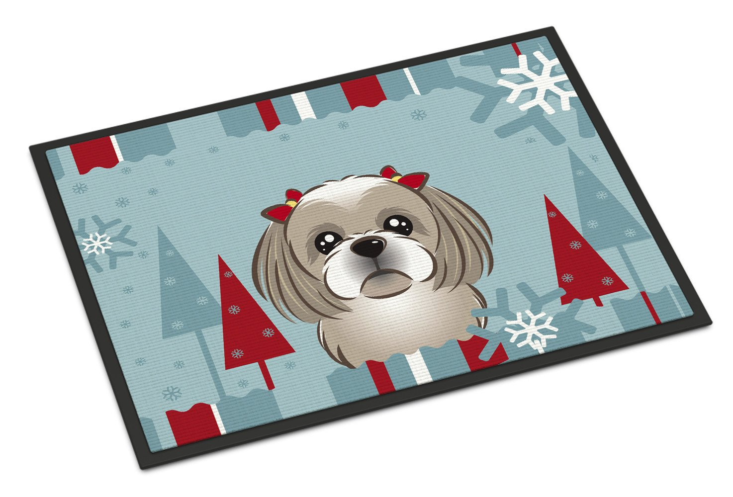 Winter Holiday Gray Silver Shih Tzu Indoor or Outdoor Mat 18x27 BB1746MAT - the-store.com