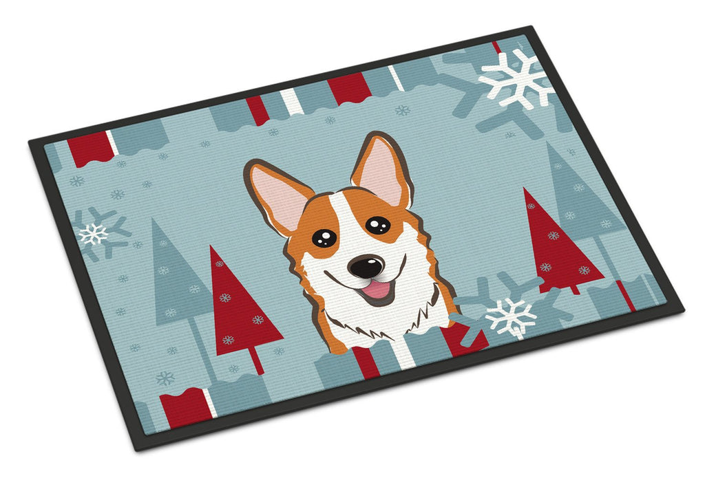 Buy this Winter Holiday Red Corgi Indoor or Outdoor Mat 18x27 BB1750MAT