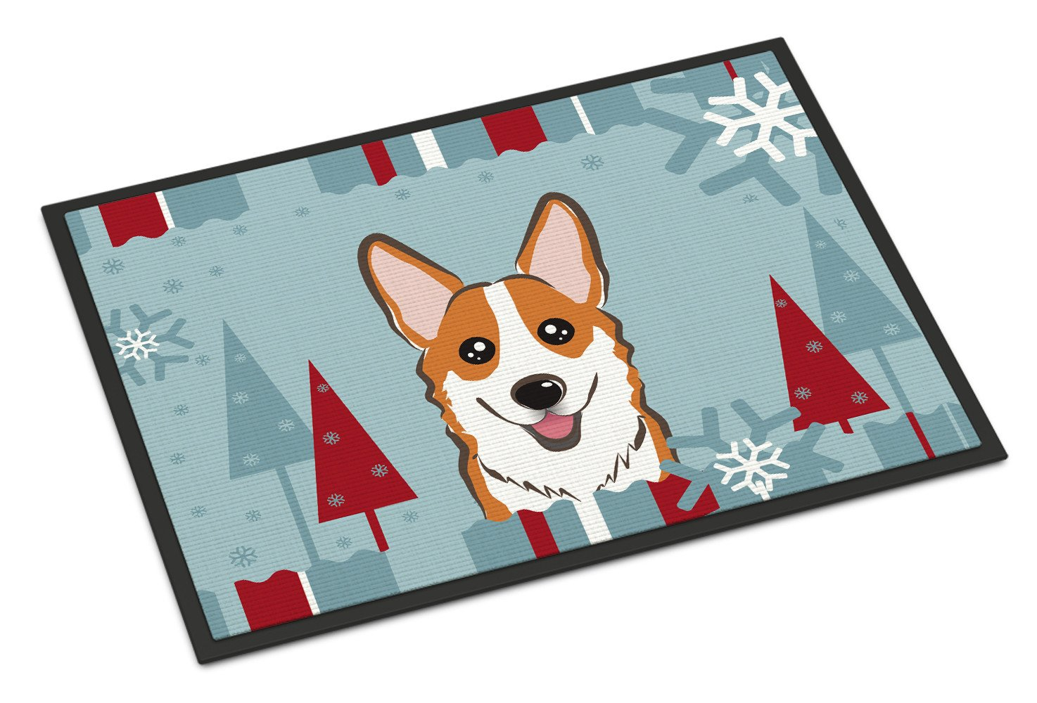 Winter Holiday Red Corgi Indoor or Outdoor Mat 18x27 BB1750MAT - the-store.com