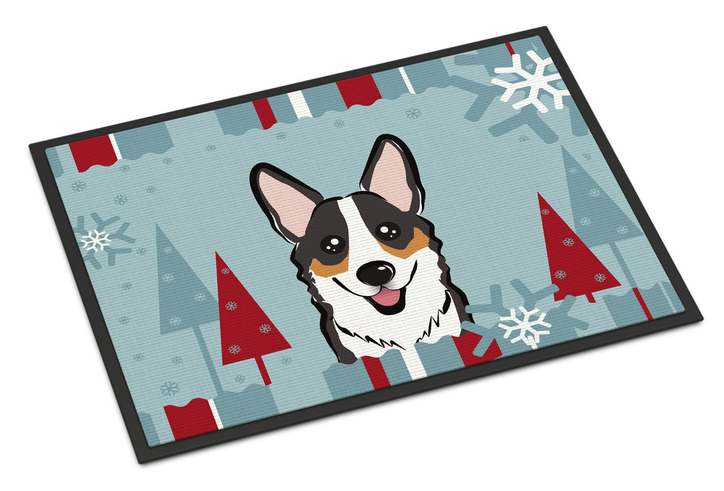 Winter Holiday Tricolor Corgi Indoor or Outdoor Mat 18x27 BB1751MAT - the-store.com