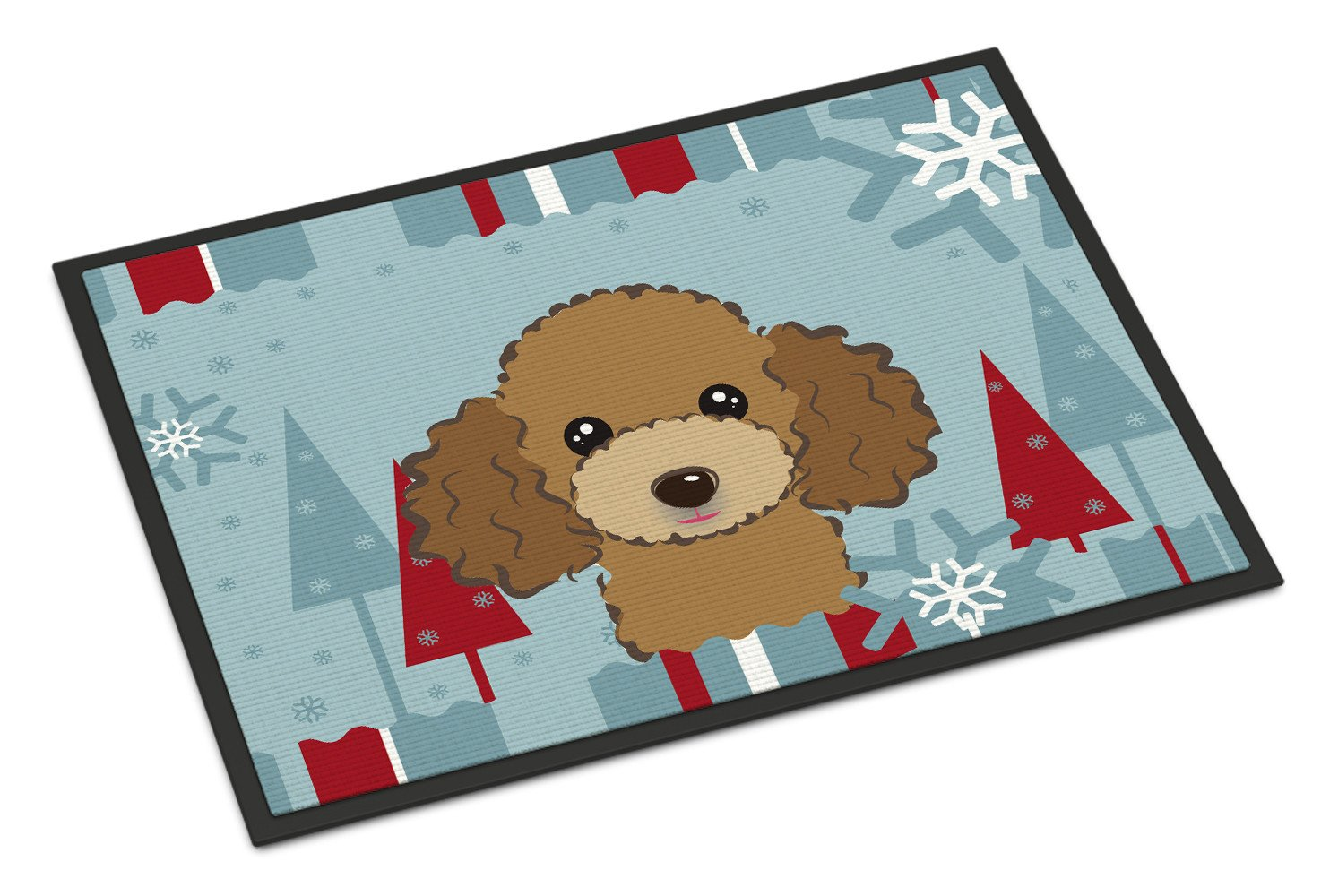 Winter Holiday Chocolate Brown Poodle Indoor or Outdoor Mat 18x27 BB1752MAT - the-store.com