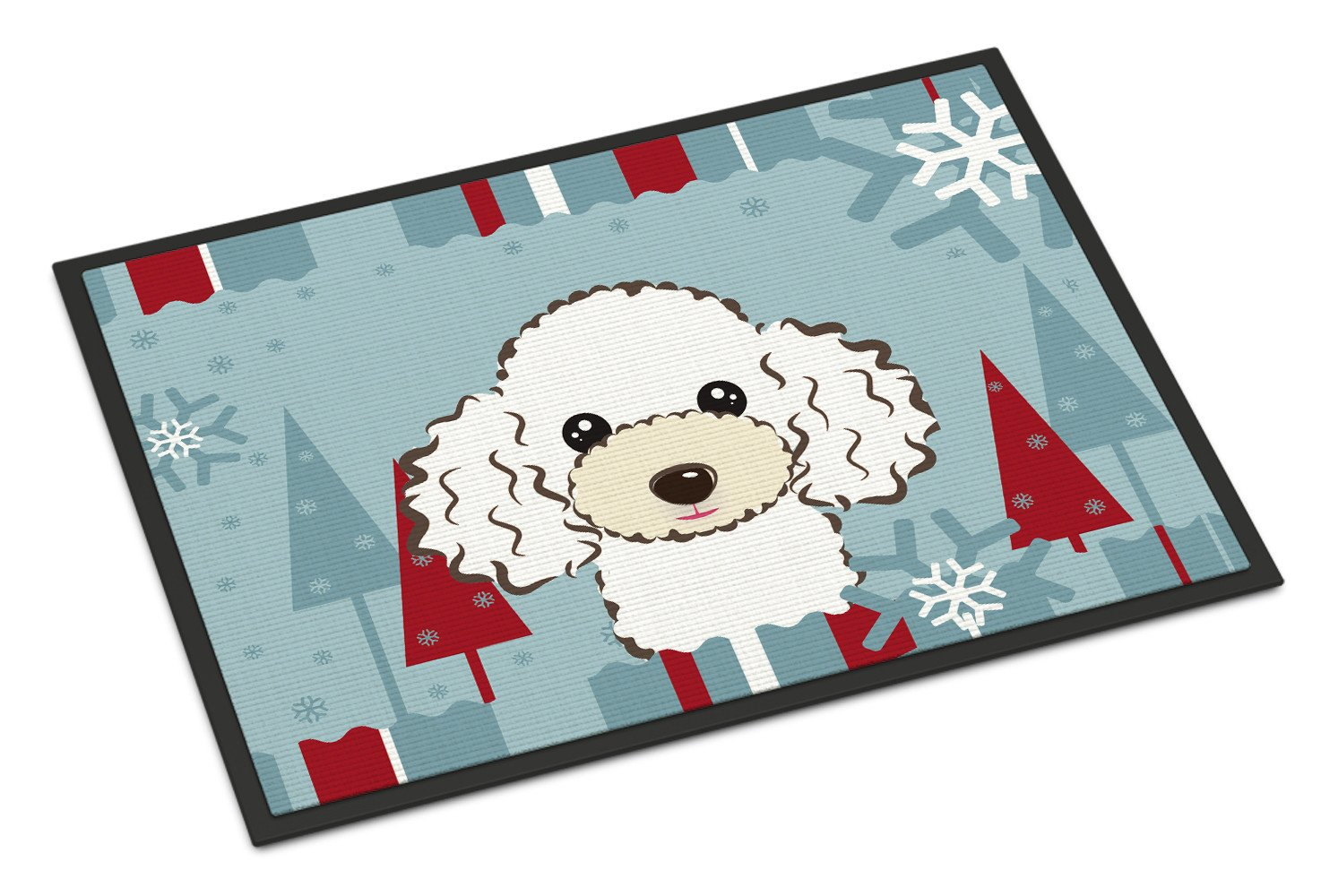 Winter Holiday White Poodle Indoor or Outdoor Mat 18x27 BB1753MAT - the-store.com