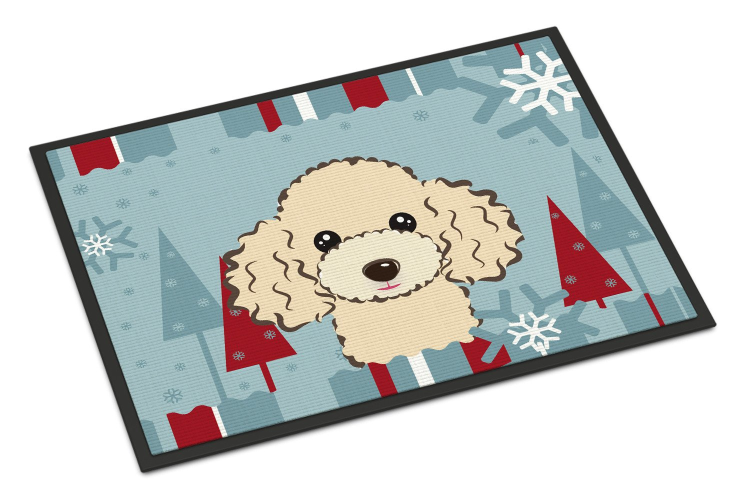 Winter Holiday Buff Poodle Indoor or Outdoor Mat 18x27 BB1754MAT - the-store.com