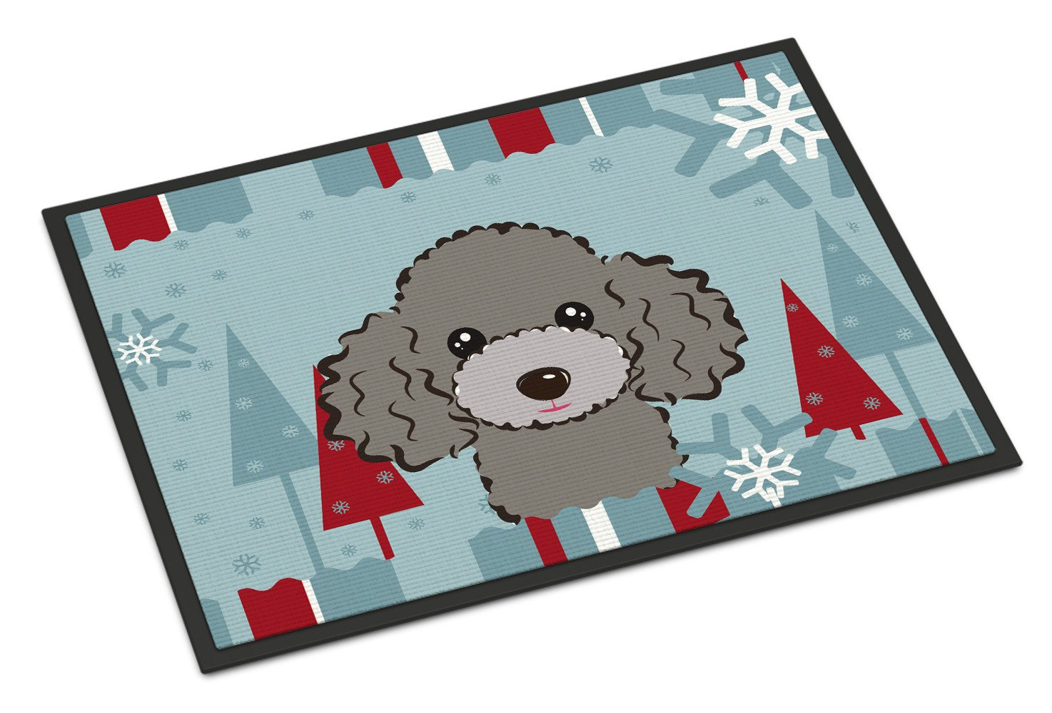 Winter Holiday Silver Gray Poodle Indoor or Outdoor Mat 18x27 BB1755MAT - the-store.com