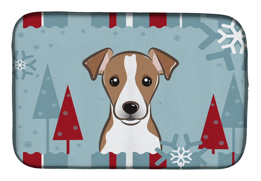 Buy this Winter Holiday Jack Russell Terrier Dish Drying Mat BB1756DDM
