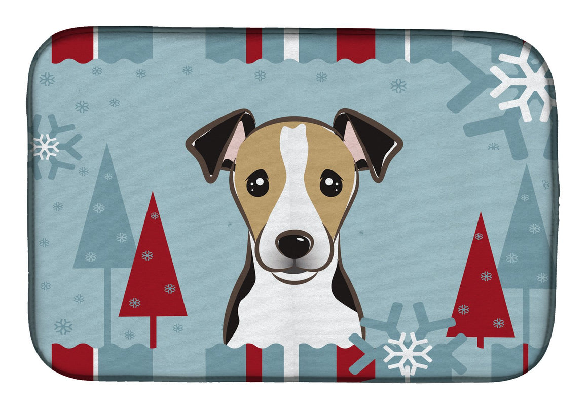 Buy this Winter Holiday Jack Russell Terrier Dish Drying Mat BB1757DDM