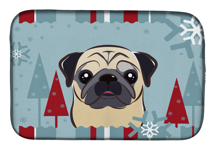Buy this Winter Holiday Fawn Pug Dish Drying Mat BB1758DDM
