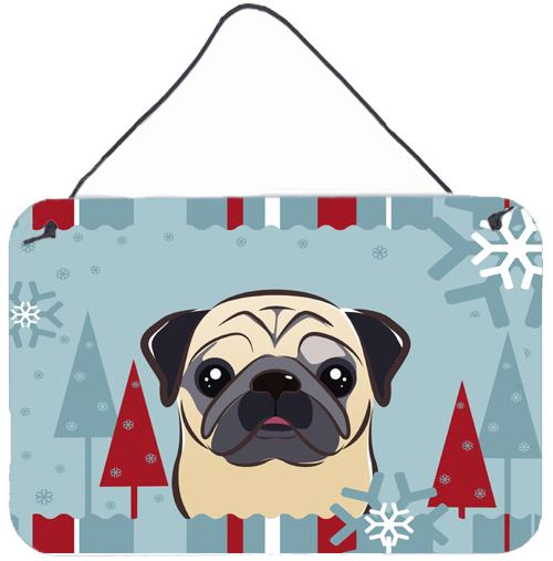Buy this Winter Holiday Fawn Pug Wall or Door Hanging Prints BB1758DS812