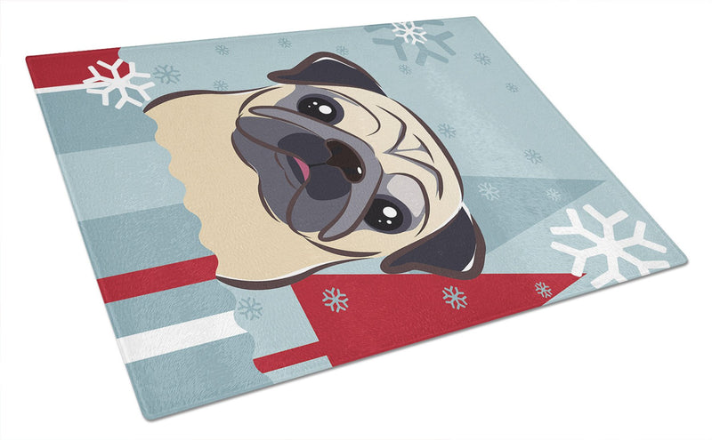 Buy this Winter Holiday Fawn Pug Glass Cutting Board Large BB1758LCB