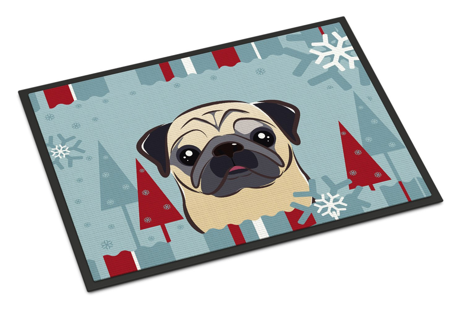 Winter Holiday Fawn Pug Indoor or Outdoor Mat 18x27 BB1758MAT - the-store.com