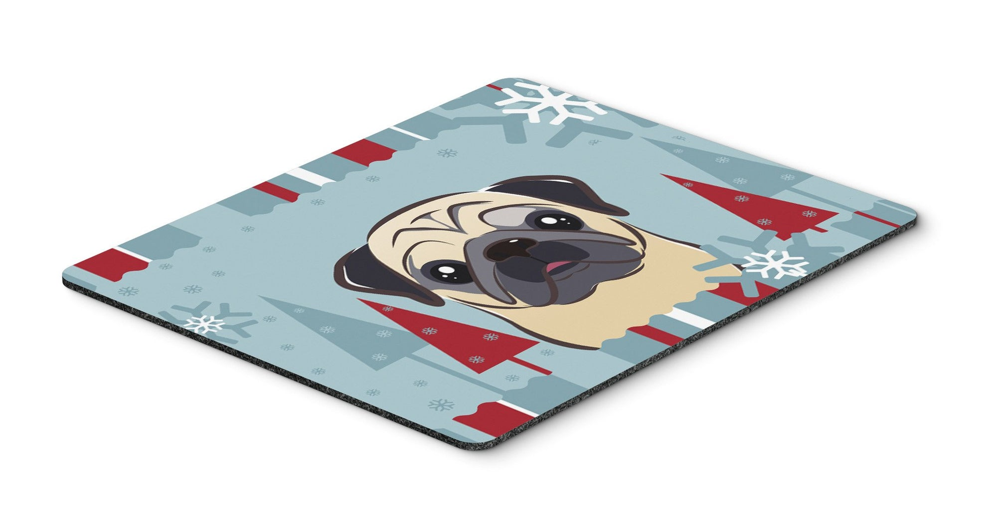 Buy this Winter Holiday Fawn Pug Mouse Pad, Hot Pad or Trivet BB1758MP