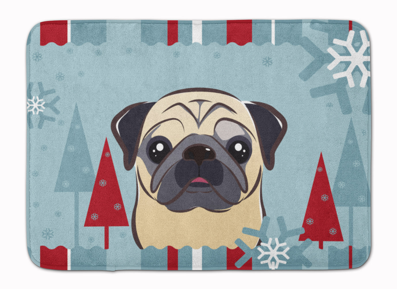 Buy this Winter Holiday Fawn Pug Machine Washable Memory Foam Mat BB1758RUG