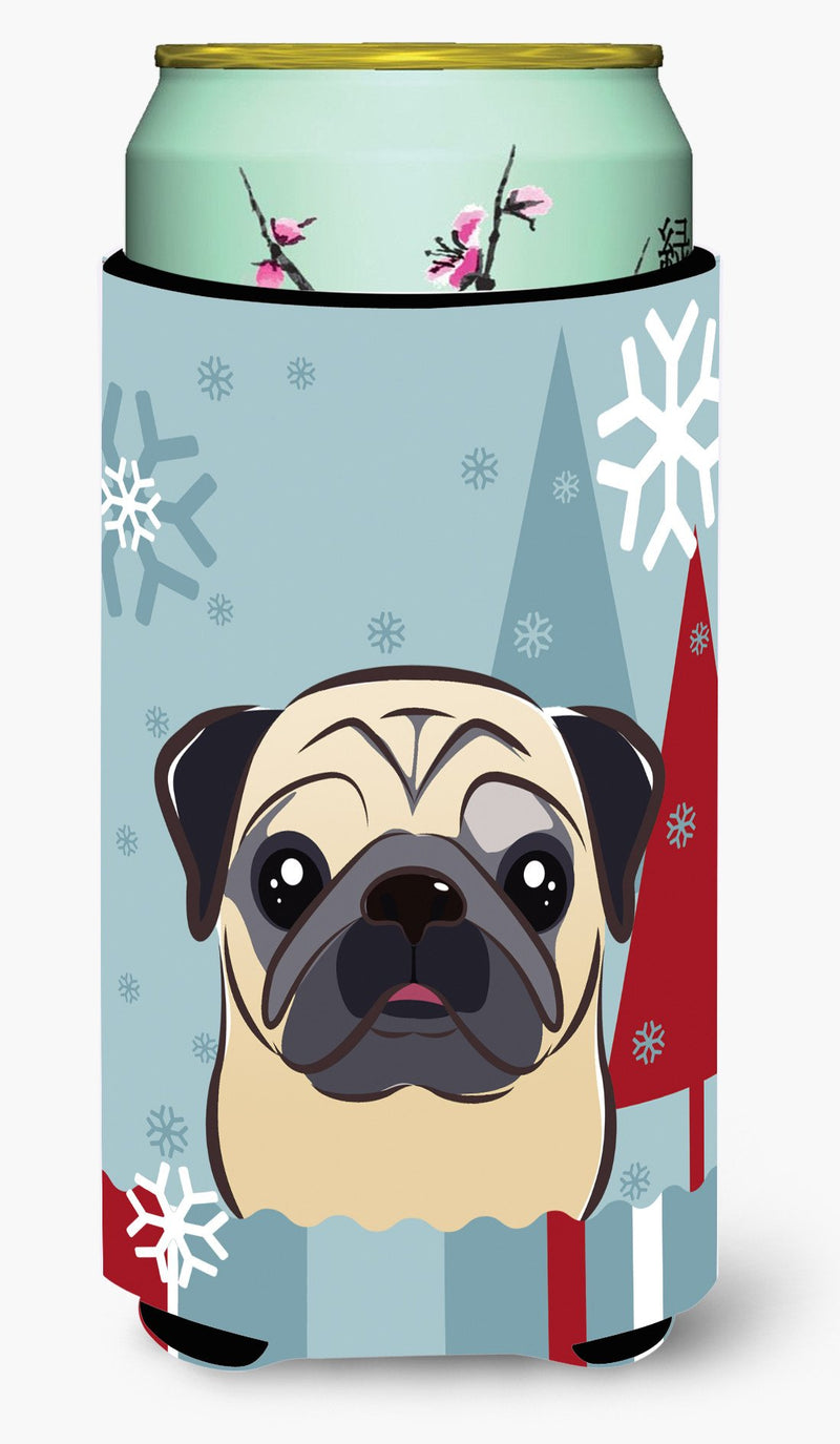 Buy this Winter Holiday Fawn Pug Tall Boy Beverage Insulator Hugger BB1758TBC