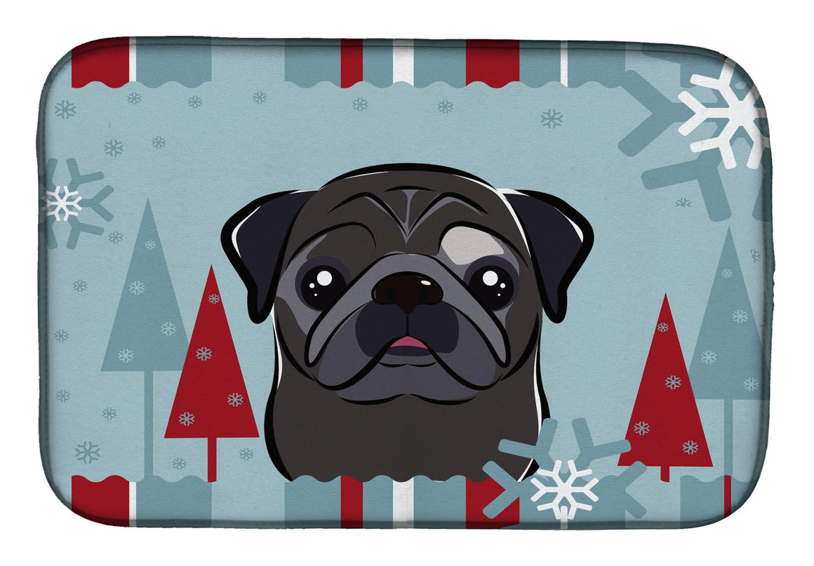 Buy this Winter Holiday Black Pug Dish Drying Mat BB1759DDM