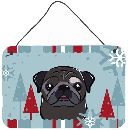 Buy this Winter Holiday Black Pug Wall or Door Hanging Prints BB1759DS812