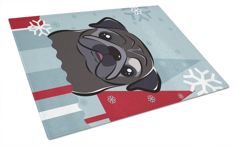 Buy this Winter Holiday Black Pug Glass Cutting Board Large BB1759LCB