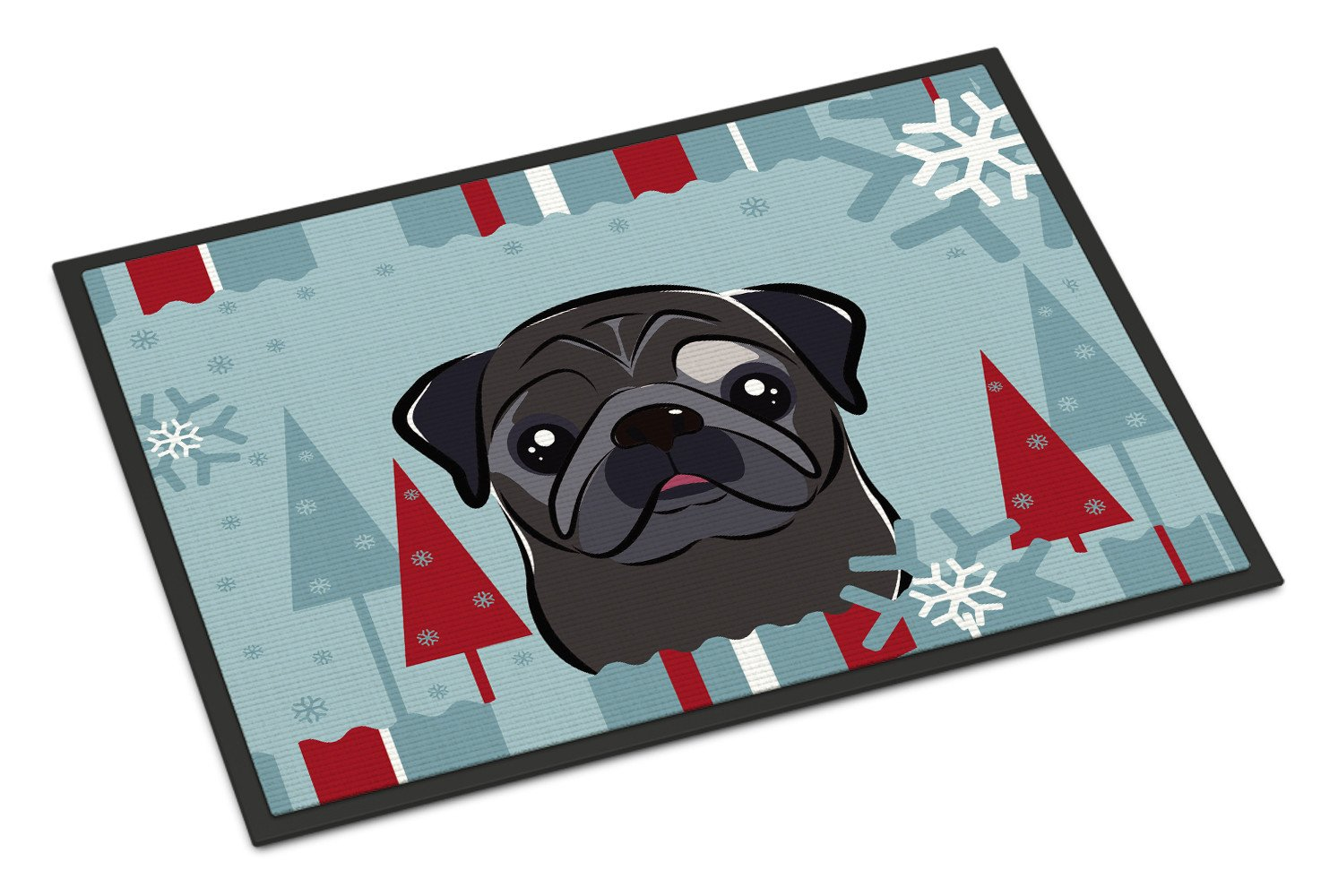 Winter Holiday Black Pug Indoor or Outdoor Mat 18x27 BB1759MAT - the-store.com