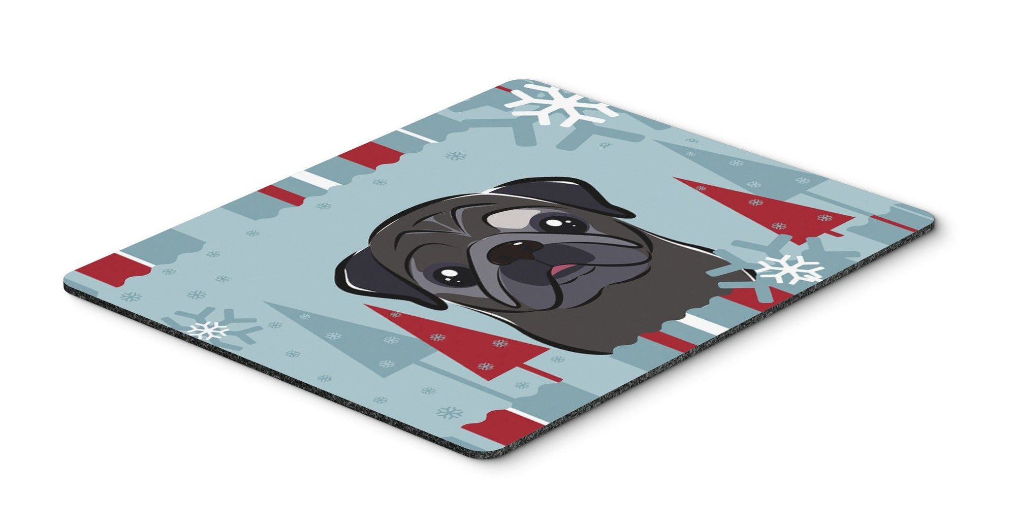 Buy this Winter Holiday Black Pug Mouse Pad, Hot Pad or Trivet BB1759MP