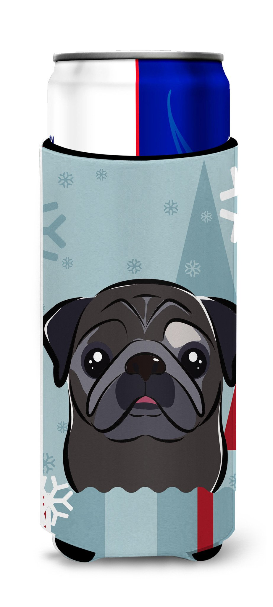 Buy this Winter Holiday Black Pug Ultra Beverage Insulators for slim cans BB1759MUK