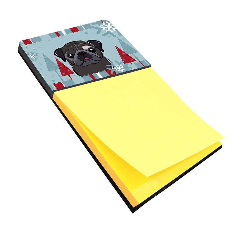 Buy this Winter Holiday Black Pug Sticky Note Holder BB1759SN