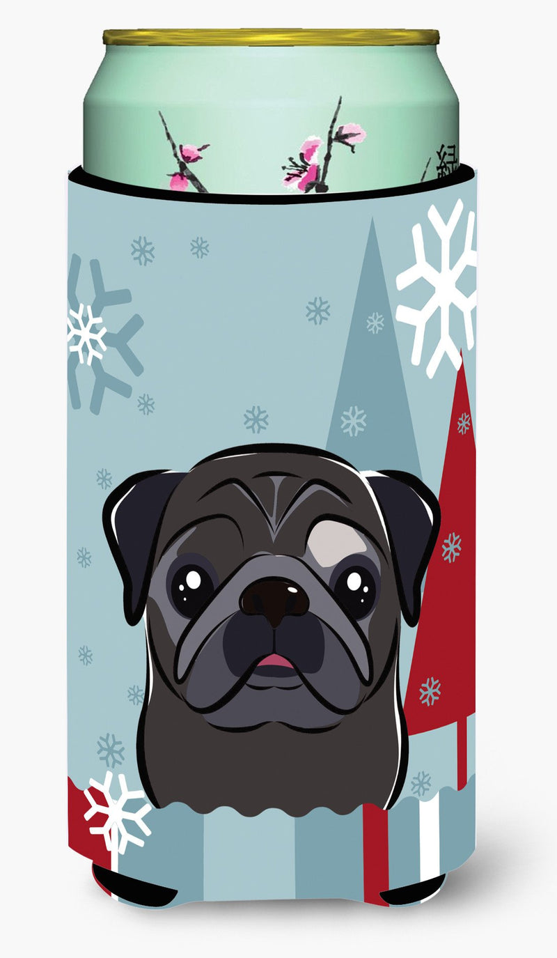 Buy this Winter Holiday Black Pug Tall Boy Beverage Insulator Hugger BB1759TBC