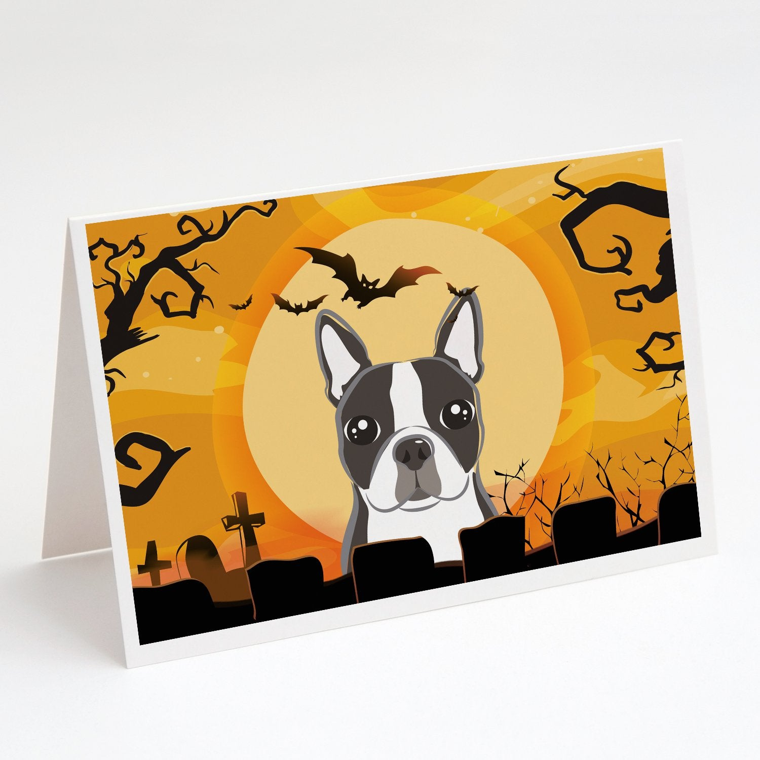 Buy this Halloween Boston Terrier Greeting Cards and Envelopes Pack of 8