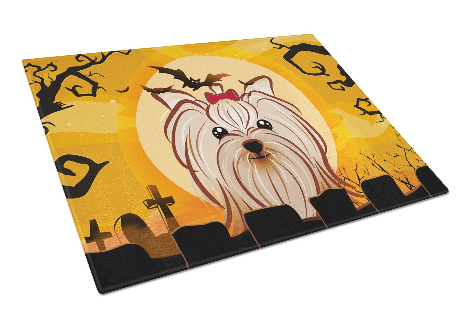 Halloween Yorkie Yorkshire Terrier Glass Cutting Board Large BB1762LCB by Caroline's Treasures