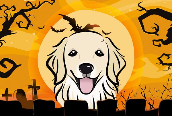 Buy this Halloween Golden Retriever Fabric Placemat BB1763PLMT