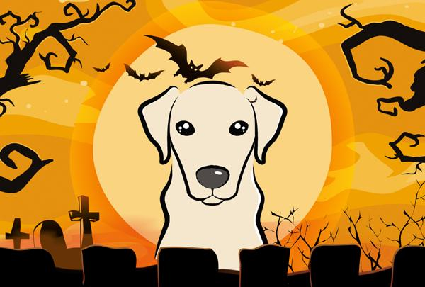 Buy this Halloween Yellow Labrador Fabric Placemat BB1780PLMT