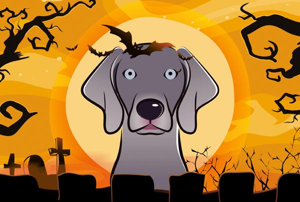 Buy this Halloween Weimaraner Fabric Placemat BB1789PLMT
