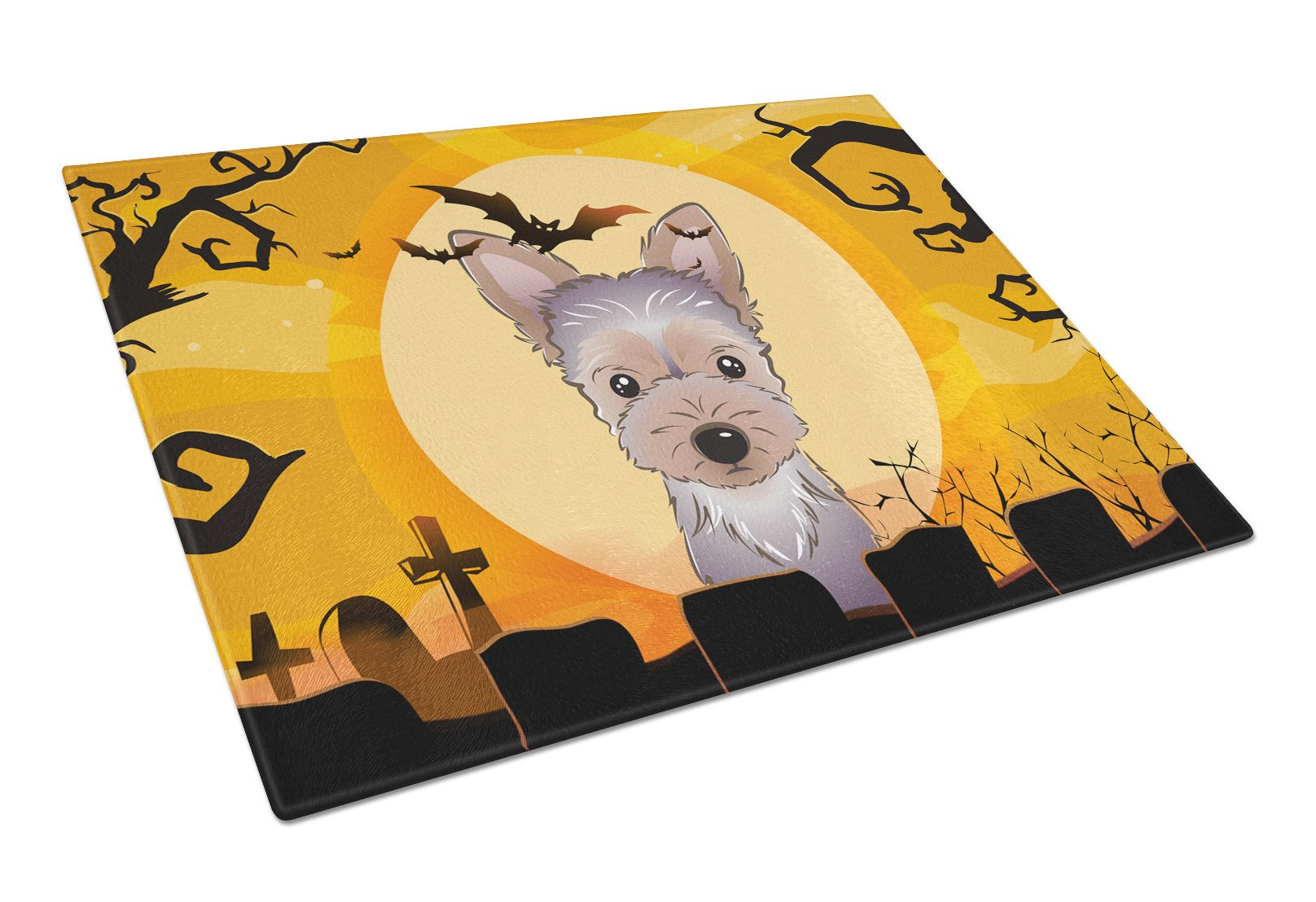 Halloween Yorkie Puppy Glass Cutting Board Large BB1790LCB by Caroline's Treasures