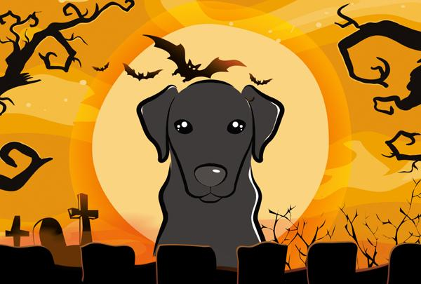 Buy this Halloween Black Labrador Fabric Placemat BB1793PLMT