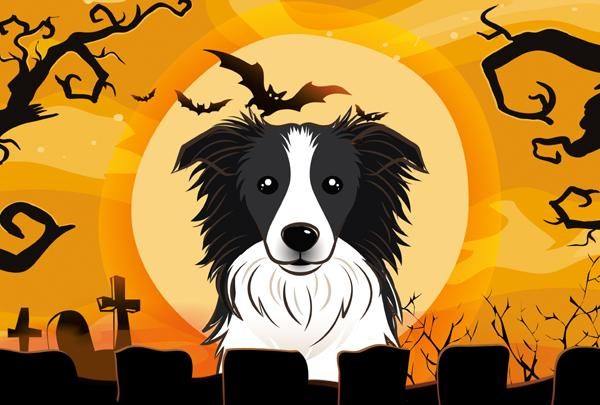 Buy this Halloween Border Collie Fabric Placemat BB1799PLMT