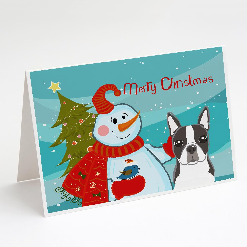 Buy this Snowman with Boston Terrier Greeting Cards and Envelopes Pack of 8