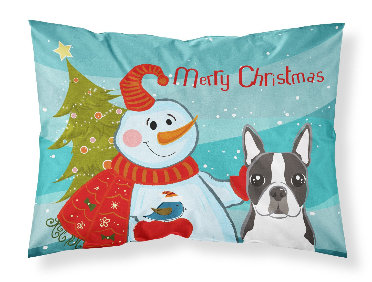 Snowman with Boston Terrier Fabric Standard Pillowcase BB1823PILLOWCASE by Caroline's Treasures