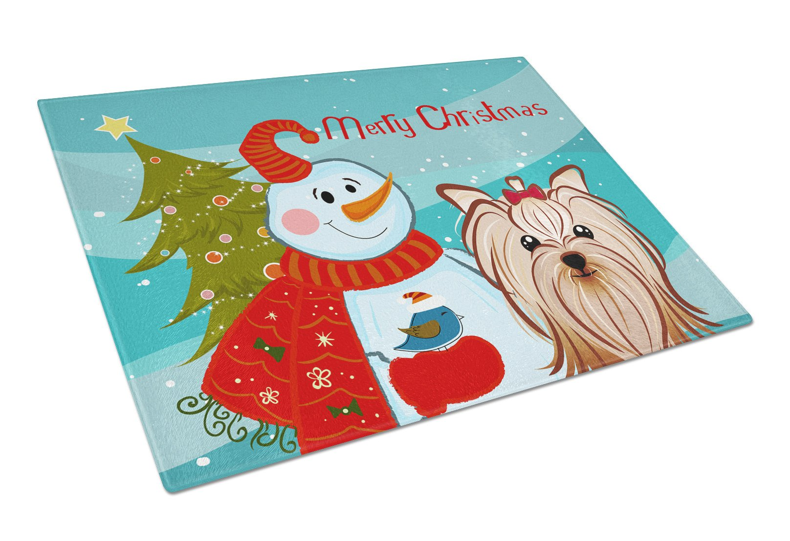 Snowman with Yorkie Yorkshire Terrier Glass Cutting Board Large BB1824LCB by Caroline's Treasures