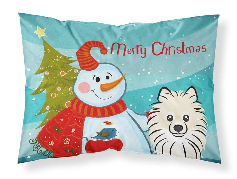Buy this Snowman with Pomeranian Fabric Standard Pillowcase BB1827PILLOWCASE