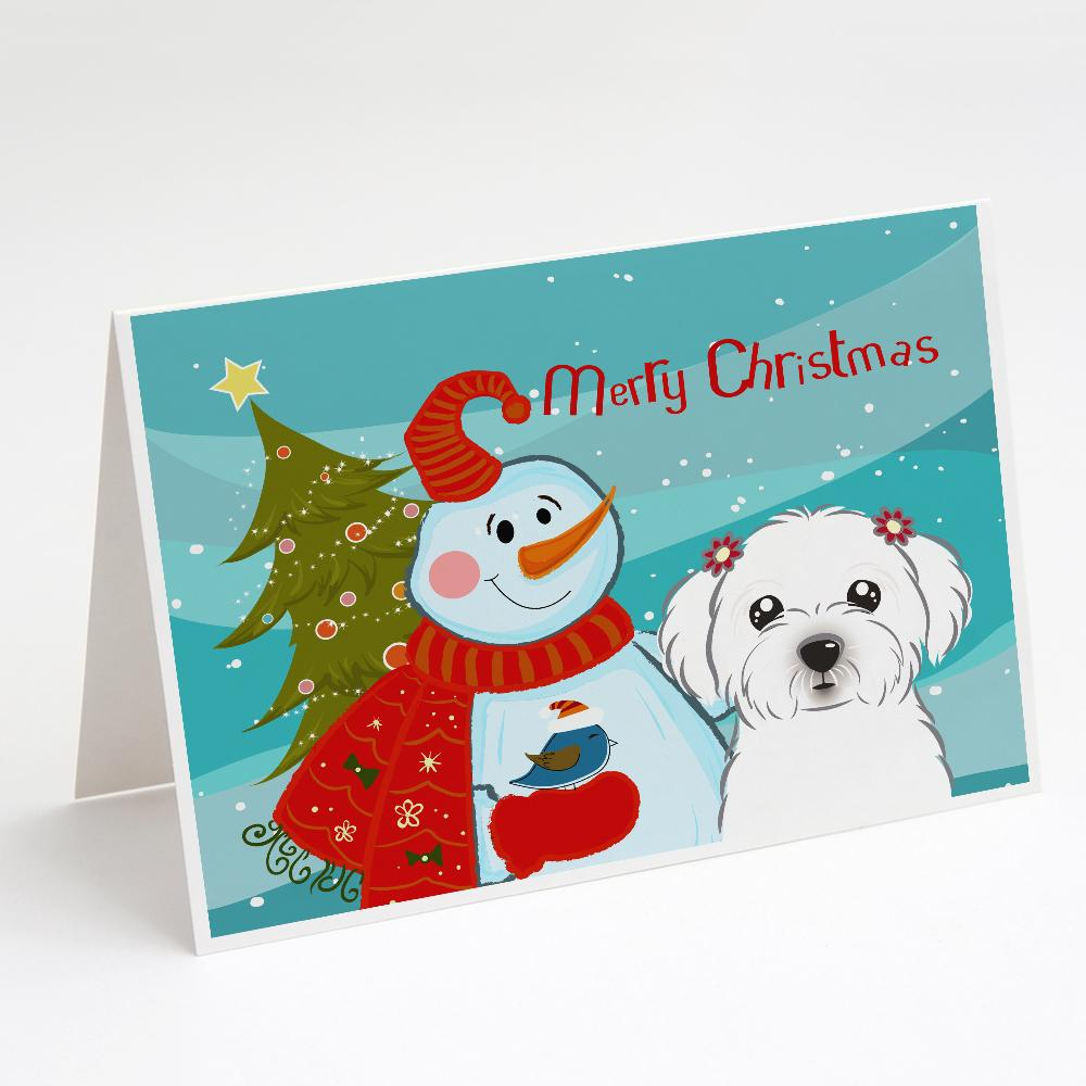 Buy this Snowman with Maltese Greeting Cards and Envelopes Pack of 8