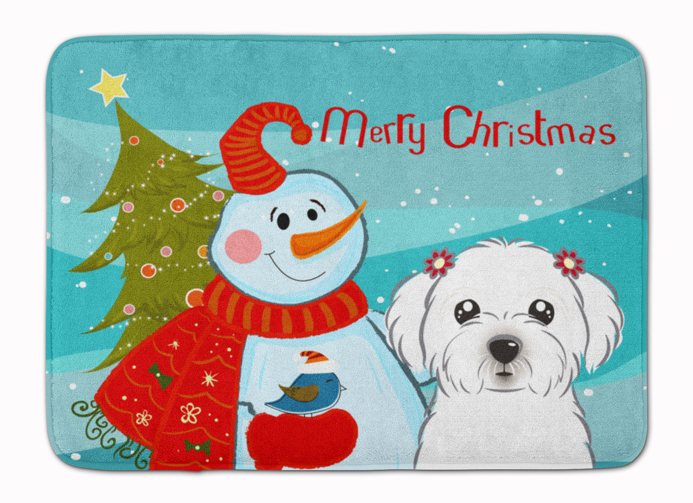 Snowman with Maltese Machine Washable Memory Foam Mat BB1828RUG by Caroline's Treasures