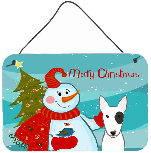 Buy this Snowman with Bull Terrier Wall or Door Hanging Prints BB1829DS812