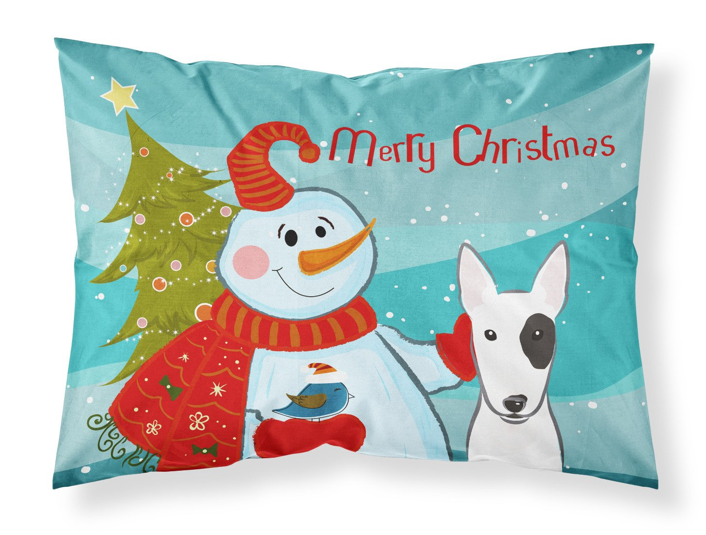 Snowman with Bull Terrier Fabric Standard Pillowcase BB1829PILLOWCASE by Caroline's Treasures