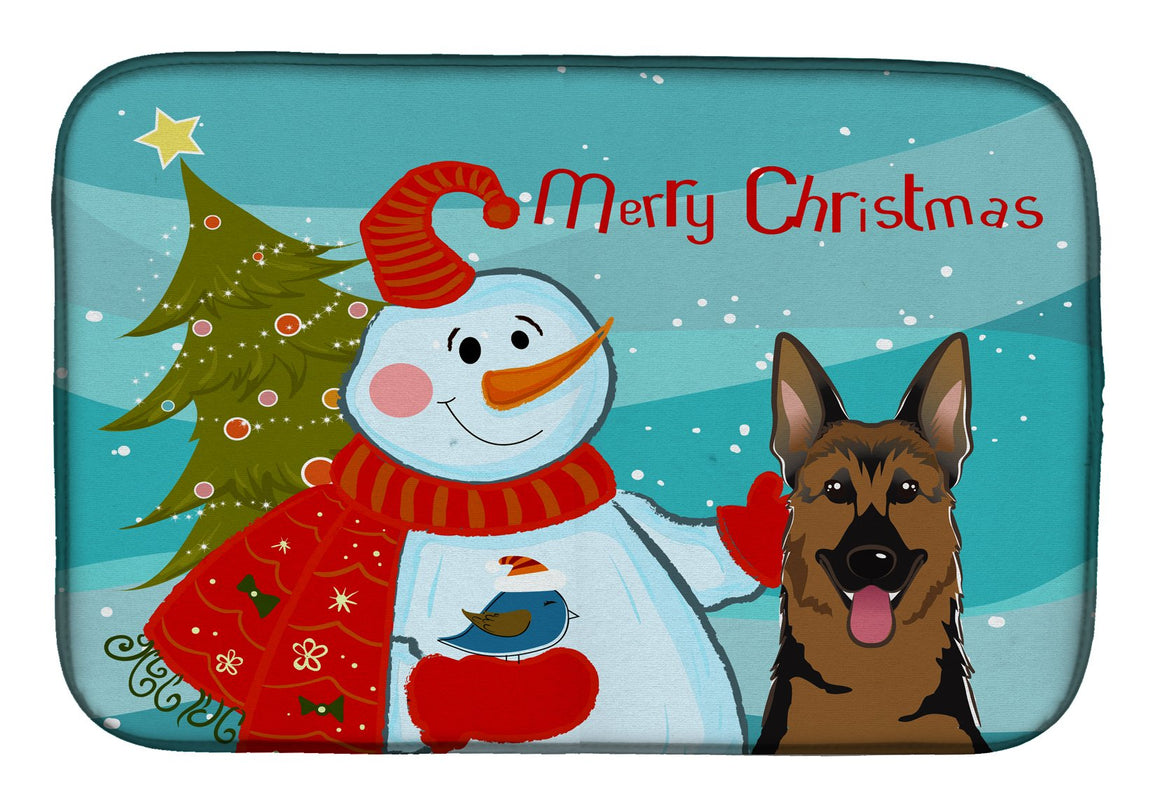 Buy this Snowman with German Shepherd Dish Drying Mat BB1831DDM
