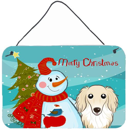 Buy this Snowman with Longhair Creme Dachshund Wall or Door Hanging Prints BB1832DS812