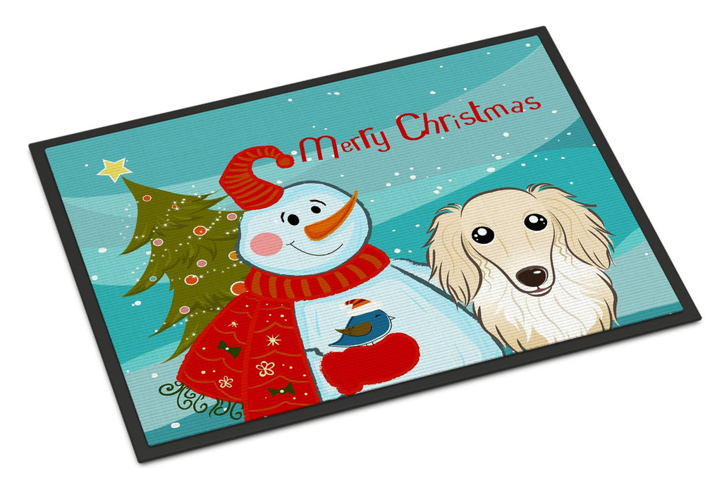 Buy this Snowman with Longhair Creme Dachshund Indoor or Outdoor Mat 18x27 BB1832MAT