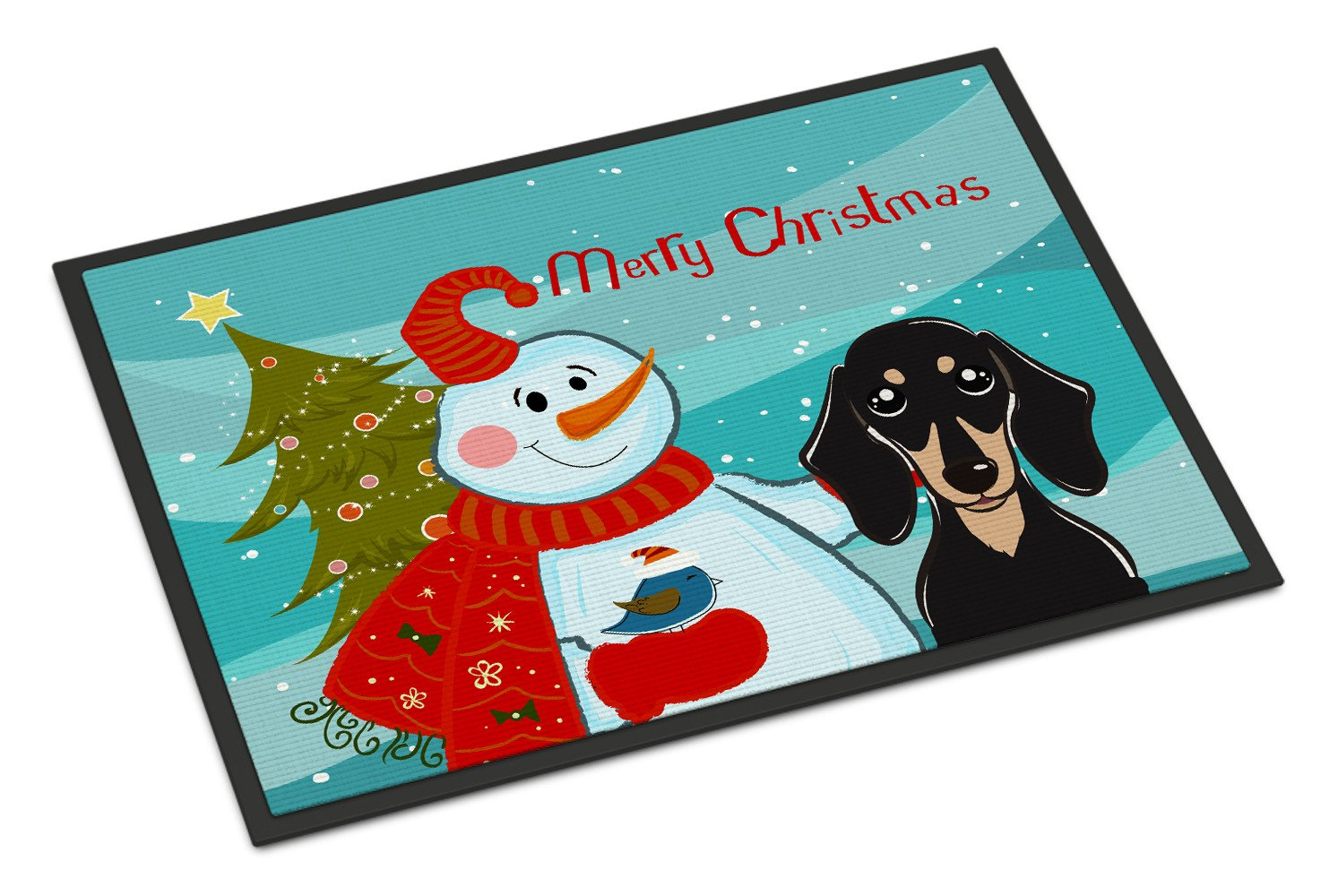 Snowman with Smooth Black and Tan Dachshund Indoor or Outdoor Mat 18x27 BB1835MAT by Caroline's Treasures